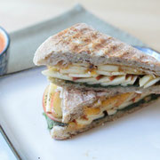 apple cheddar panini with black pepper and spinach