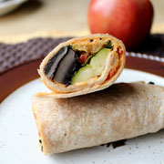 Delicious vegan roasted veggie wrap with hummus