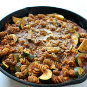 healthy homemade skillet lasagna with lean beef, zucchini, and whole grain pasta - by homemade nutrition