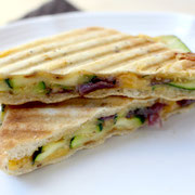 grilled zucchini panini with red onioins
