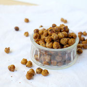 Smoky BBQ flavored roasted chickpeas