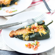 roasted bean and cheese stuffed poblano peppers