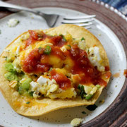breakfast tostadas with avocado, egg, and cheese