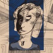 schöne Frau an frischer Luft ( Siebdruck, Tusche ) 42x 29,5 Leipzig Thomas Bolte