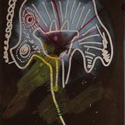 Hund der raucht ( Röntgenbild, Tusche, Filzstift ) 22x18 Leipzig Thomas Bolte