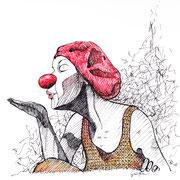 Antje Püpke . Grüße - Clownin und Tänzerin Mareike Franz . 2015 . 21x30cm . Fineliner auf Papier . unverkäuflich