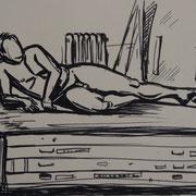 Antje Püpke . Präsentiert - Männlicher Akt - Studie . 2016 . 30x42cm . Filzstift . 49,- €