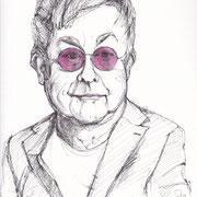 Antje Püpke . Elton John . 2018 . Fineliner/Aquarell