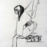 Rarität - Asiatisch II . 2012 . Zeichenkohle auf Papier . 40cmx60cm . 199,-€