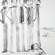 Antje Püpke . König David . 2012 . 42x60cm . Presskohle auf Karton . 149,- €