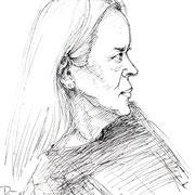 Die Malerin Marion Bauer-Stille . 2014 . Fineliner
