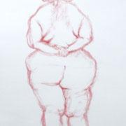 Antje Püpke . Weiblicher Akt I korpulent, stehend - Studie . 2012 . Pastellkreide auf Papier . 40cmx60cm . 149,-€