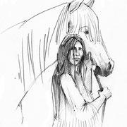 Antje Püpke . Indianerin Lozen mit Pferd . 2014 . Fineliner
