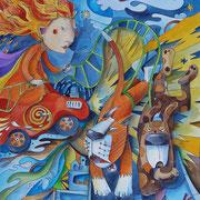 Die Göttin des Feuers reist um die Welt . 2015 . 46x62cm . 950,- €
