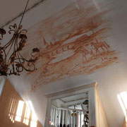klassische monogrome Wandmalerei englische Reitszene