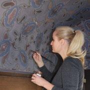 Restaurierung Deckengewölbe mit Leimfarbe in Backnang