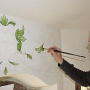 Wandmalerei Barockgrotesken Bachus