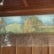 Wandmalerei - noch in der Vollendung des Auftrages