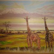 Wandbild mit Giraffen