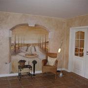 monogrome Illusionsmalerei in der Eingangshalle