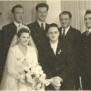 Hochzeit Rainer Walter 1951: Dä Kurt, dä Alwies, dä Hoinor, dä Fronz (Basche) unn dä Schorsch