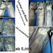Löcher und Risse egal wie groß und wie viele mit Jeans verstärkung hinten.