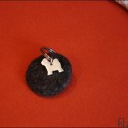 Scheibe mit Tibet Terrier Schmuckanhänger, ca. Ø 45, T7mm (35 € *)