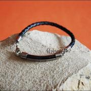 Glasbogen (Edelstahl) an gefl. Leder-Armband m. schlichtem Edelstahl-Karabiner (34 € *) - als Kette gegen Aufpreis