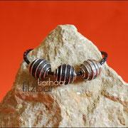 Armband geflochtenes Leder und 3 Spiralkugeln (47 € *) als Kette bis 50 cm (59 € *)