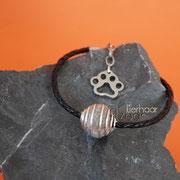 Armband Spiralkugel, geflochtenes Leder, Verlängerungskettchen und Edelstahl-Tatze (41 € *) - als Kette bis 50 cm (52 € *)