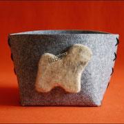 Korb Grau mit Havaneserhaar, Maße vom Korb, ca H 125mm, Ø170mm (35 € *)