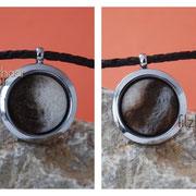 Schatzkammer (Edelstahl) mit aufwendigen Farbdesigns an geflochtener Lederkette (57 € *)