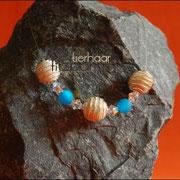 Spiralkugelnkette mit Perlen u. Glasteinen in div. Farben (Pferdehaar, Preise auf Anfrage)