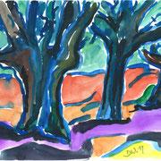 Drei alte Bäume, 2011, 24x32cm