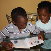 The twins doing math practise.