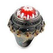 П572.Перстень из серебра со вставкой мурано, серебро 925, ручная работа. Из эксклюзивной коллекции Алана К.