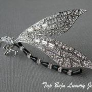 """П-798.Редкая брошь""""Стрекоза"""" от Кеннет Джей Лэйна. Эмаль, камни Сваровки в редкой багетной форме."""