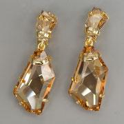 """П-883.Серьги-клипсы """"Осколки льда"""" от американского дизайнера Кеннет Лэйна. Хрустальные кристалы в красивом оттенке топаза, ювелирный сплав с позолотой. Длина 5.5см. ПОВТОР ПОД ЗАКАЗ"""