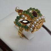 """П-1036.Роскошное кольцо """"Корона"""". Ювелирный сплав с 18К позолотой, декор натуральными камнями жемчуга, граната и перидота.Размер регулируется внутренним зажимом 15.5-20. Ручная работа.ПОВТОР ПОД ЗАКАЗ"""