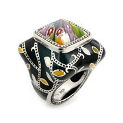 П576.Перстень из серебра 925со вставкой мурано, ручная работа. Из эксклюзивной коллекции Алана К.
