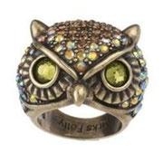 """KF-10. Кольцо """"Сова"""". Размеры в наличии. Декор камнями Сваровски, ювелирный сплав с бронзой, ручная работа.  Цена 800грн-100$"""