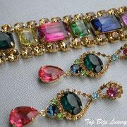 """П-785.Колье, браслет и серьги из коллекции """"Light up"""" от Роберто Грациано. Ювелирный сплав под золото"""