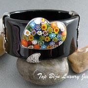 П-877. Роскошный дизайнерский браслет от Алана К. Выполнен из серебра 925 с родиевым покрытием-вес 94.6гр, декор цирконами, итальянский камень мурано. Клеймо. ПОВТОР ПОД ЗАКАЗ
