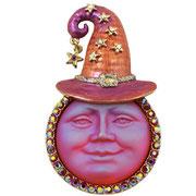 """KF-63. Брошь-кулон  """"Луна Волшебница"""". В наличии в фиолетовой, красной и изумрудной цветовой гамме. Ручная работа, нежная эмаль, камни Сваровски. Размер 7х4см. Цена 1500грн"""