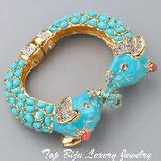 """П-816.Культовый браслет """"Слоны"""" от американского дизайнера Кеннет Джей Лэйна. Позолота 24К, кабошона, камни Сваровски. ПОВТОР ПОД ЗАКАЗ"""