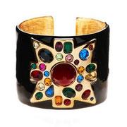 П597. Широкий стильный браслет со вставками из австрийских сверкающих кристаллов, Kenneth Jay Lane. На любое запястье.