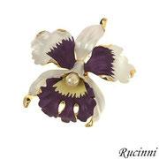 """П664. Дизайнерская американская брошь """"Орхидея"""". Позолота 18К, нежная эмаль. иск жемчужина. Очень красивое украшение, эффект живого цветка."""