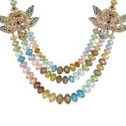 """KF-84. Колье """" Rainbow Butterfly"""". Австрийские граненные бусины, декор камнями Сваровски, ювелирный сплав с позолотой 22К, ручная работа. Цена 1800грн-225$"""
