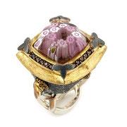 П573.Перстень из серебра со вставкой мурано, серебро 925, ручная работа. Из эксклюзивной коллекции Алана К.