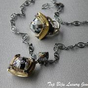 П-746. Комплект из колье и кольца от дизайнера Алана К. Серебро925 с чернением, камень мурано, цирконии. Полностью ручная работа. Изделия шикарные, стильные и добротные.